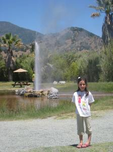 Lilly in front of Old Faithful